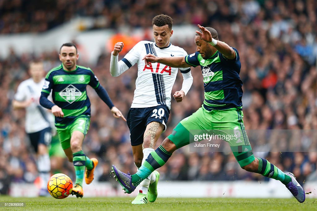 <a gi-track='captionPersonalityLinkClicked' href=/galleries/search?phrase=Dele+Alli&family=editorial&specificpeople=9976958 ng-click='$event.stopPropagation()'>Dele Alli</a> of Tottenham Hotspur is challenged by <a gi-track='captionPersonalityLinkClicked' href=/galleries/search?phrase=Ashley+Williams+-+Voetballer&family=editorial&specificpeople=13495389 ng-click='$event.stopPropagation()'>Ashley Williams</a> of Swansea City during the Barclays Premier League match between Tottenham Hotspur and Swansea City at White Hart Lane on February 28, 2016 in London, England.