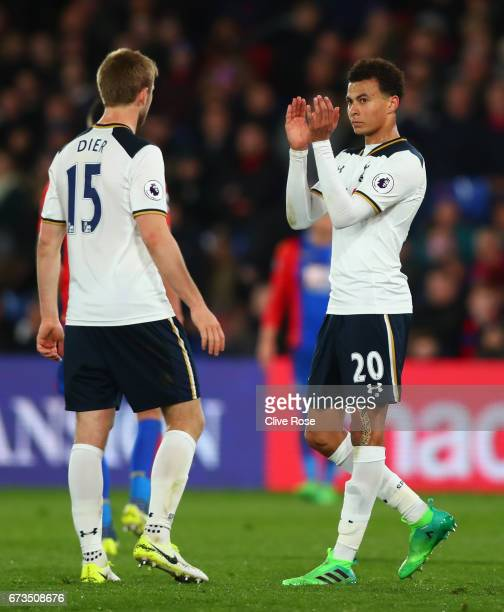 Dele Alli of Tottenham Hotspur is subtituted during the Premier League match between Crystal Palace and Tottenham Hotspur at Selhurst Park on April...