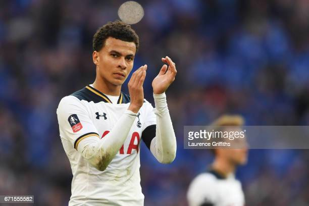 Dele Alli of Tottenham Hotspur looks dejected during The Emirates FA Cup SemiFinal between Chelsea and Tottenham Hotspur at Wembley Stadium on April...