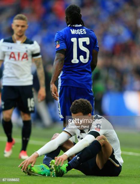 Dele Alli of Tottenham Hotspur looks on during The Emirates FA Cup SemiFinal between Chelsea and Tottenham Hotspur at Wembley Stadium on April 22...