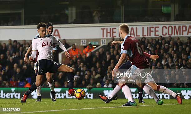 Dele Alli of Tottenham Hotspur scores his sides first goal during the Premier League match between Tottenham Hotspur and Burnley at White Hart Lane...