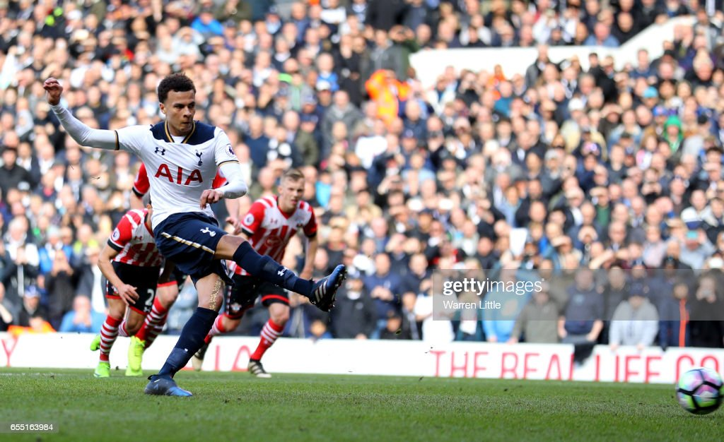 Dele Alli of Tottenham Hotspur scores his sides second goal from the penalty spot during the Premier League match between Tottenham Hotspur and Southampton at White Hart Lane on March 19, 2017 in London, England.