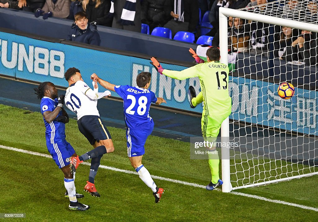 Dele Alli of Tottenham Hotspur (L) scores his sides second goal with a header during the Premier League match between Tottenham Hotspur and Chelsea at White Hart Lane on January 4, 2017 in London, England.