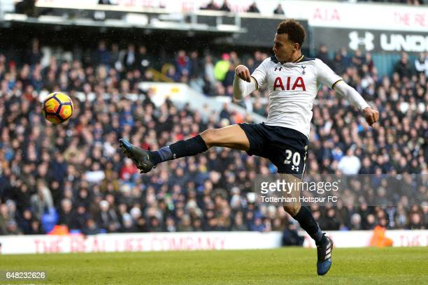 Dele Alli of Tottenham Hotspur scores his sides third goal during the Premier League match between Tottenham Hotspur and Everton at White Hart Lane...