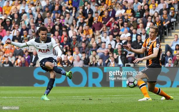 Dele Alli of Tottenham Hotspur scores his sides third goal during the Premier League match between Hull City and Tottenham Hotspur at the KC Stadium...