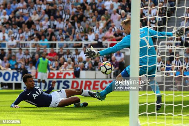 Dele Alli of Tottenham Hotspur scores his team's first goal during the Premier League match between Newcastle United and Tottenham Hotspur at St...