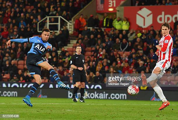 Dele Alli of Tottenham Hotspur scores their fourth goal and his second during the Barclays Premier League match between Stoke City and Tottenham...