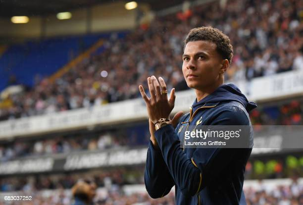 Dele Alli of Tottenham Hotspur shows appreciation to the fans during a lap on honor after the Premier League match between Tottenham Hotspur and...