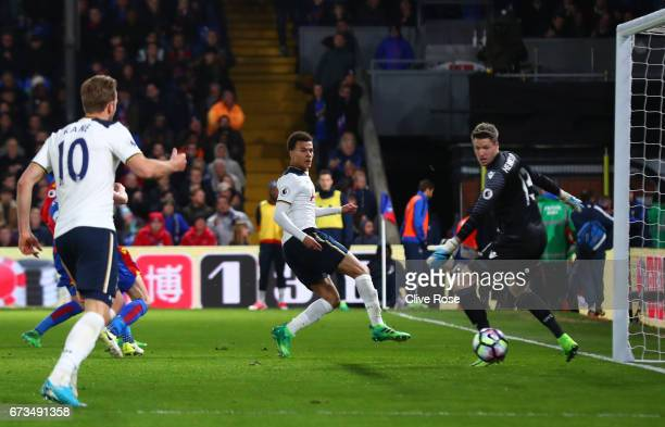 Dele Alli of Tottenham Hotspur takes a shot on goal during the Premier League match between Crystal Palace and Tottenham Hotspur at Selhurst Park on...
