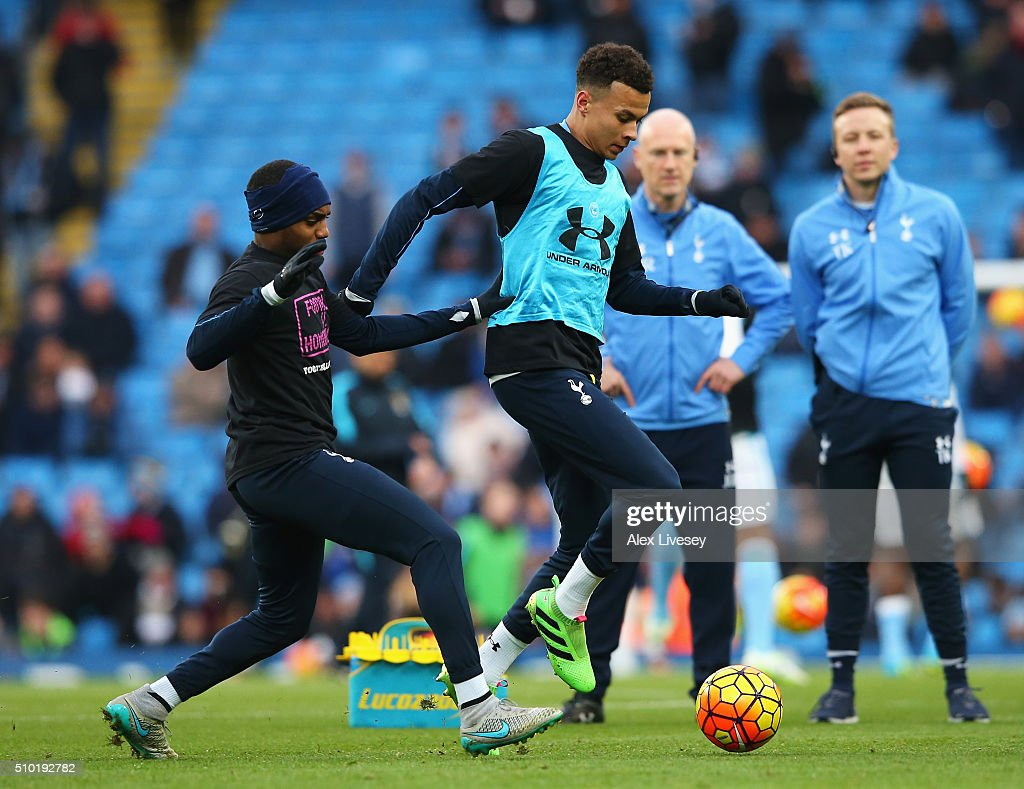 <a gi-track='captionPersonalityLinkClicked' href=/galleries/search?phrase=Dele+Alli&family=editorial&specificpeople=9976958 ng-click='$event.stopPropagation()'>Dele Alli</a> of Tottenham Hotspur warms up prior to the Barclays Premier League match between Manchester City and Tottenham Hotspur at Etihad Stadium on February 14, 2016 in Manchester, England.