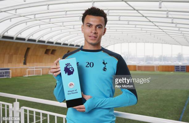 Dele Alli of Tottenham poses with the Premier League Player Of The Month award at Tottenham Hotspur Training Centre on February 9 2017 in Enfield...