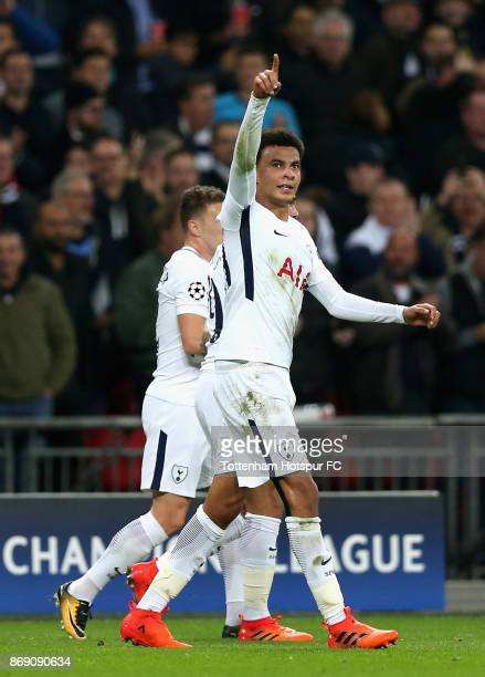 Dele Alli of Tottenhams Hotspur celebrates scoring his side's first goal during the UEFA Champions League group H match between Tottenham Hotspur and...