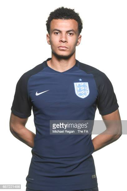Dele Alli poses for an England team portrait at St Georges Park on March 20 2017 in BurtonuponTrent England