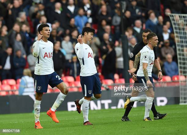 Dele Alli scores the third for Tottenham and Celebrates during the Premier League match between Tottenham Hotspur and Liverpool at Wembley Stadium on...