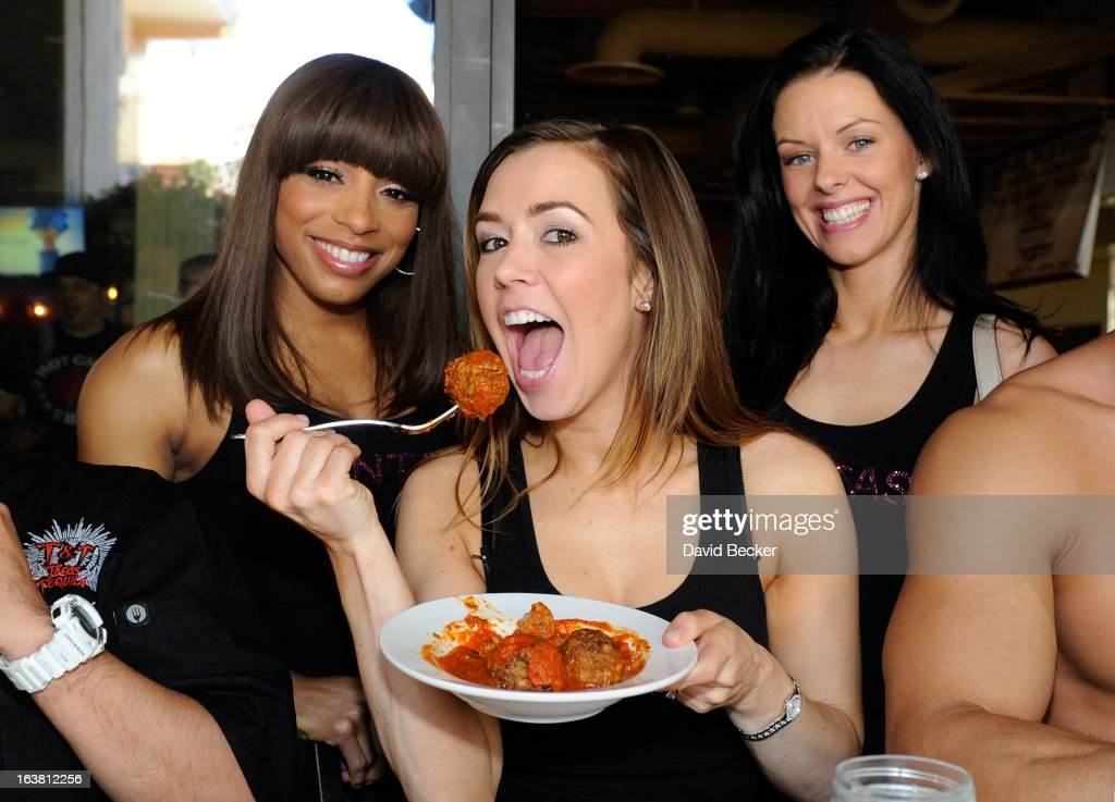Delecia, Mariah and Tracey of the production show 'Fantasy' appear at the meatball eating contest at the Meatball Spot on March 16, 2013 in Las Vegas, Nevada.