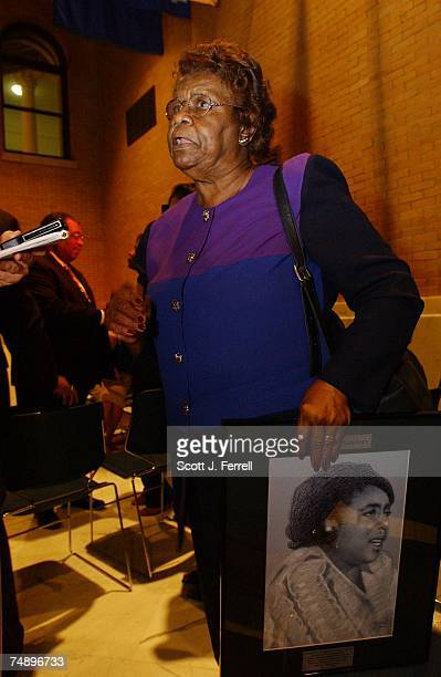 CONVENTION1964 delegate and current Mississippi Delegate Emma Sanders talks with a reporter during a 'Fannie Lou Hamer' reception at the...