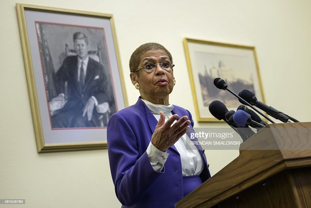 Delegate <a gi-track='captionPersonalityLinkClicked' href=/galleries/search?phrase=Eleanor+Holmes+Norton&family=editorial&specificpeople=642872 ng-click='$event.stopPropagation()'>Eleanor Holmes Norton</a> ,D-DC, speaks during a press conference on Capitol Hill January 5, 2015 in Washington, DC. Delegate Norton along with Washington Mayor Muriel E. Bowser spoke about DC statehood.
