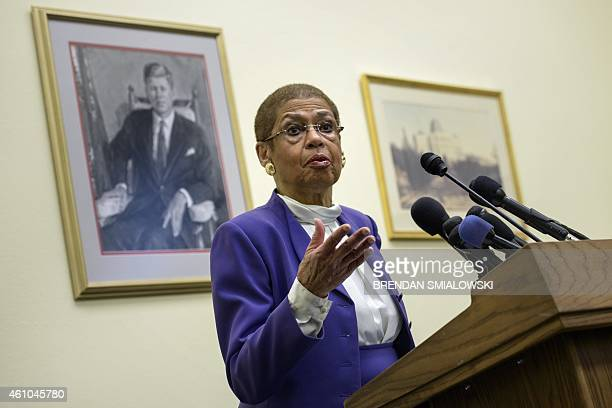 Delegate Eleanor Holmes Norton DDC speaks during a press conference on Capitol Hill January 5 2015 in Washington DC Delegate Norton along with...