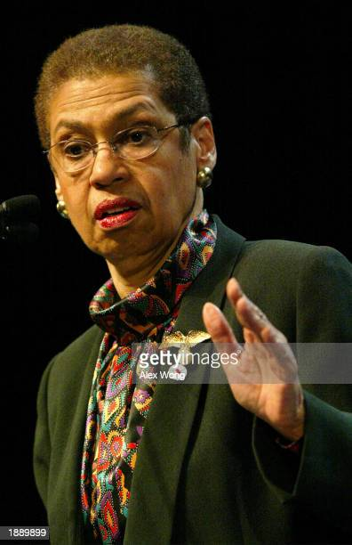 S Delegate Eleanor Holmes Norton speaks during a town meeting on affirmative action April 1 2003 at Howard University in Washington DC Members of the...