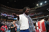 A delegate prays during the closing benediction on the second day of the Democratic National Convention at the Wells Fargo Center July 26 2016 in...
