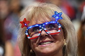 A delegate swans patriotic glasses during the third day of the Republican National Convention on Wednesday July 20 2016