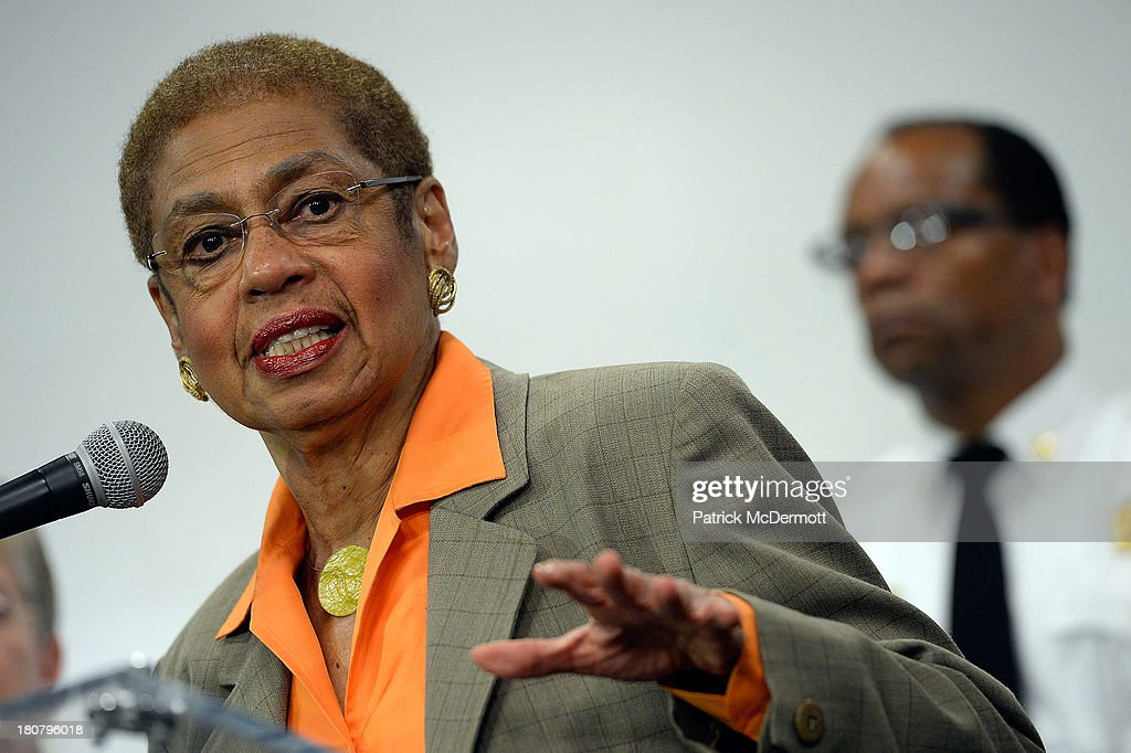 Delegate to the U.S. House of Representatives <a gi-track='captionPersonalityLinkClicked' href=/galleries/search?phrase=Eleanor+Holmes+Norton&family=editorial&specificpeople=642872 ng-click='$event.stopPropagation()'>Eleanor Holmes Norton</a> (D-DC) briefs members of the media at a DC government building not far away from the Washington Navy Yard on September 16, 2013 in Washington, DC. At least 12 people were killed in a morning shooting rampage at the Navy Yard, according to published reports. The gunman was killed as well, according to the reports.