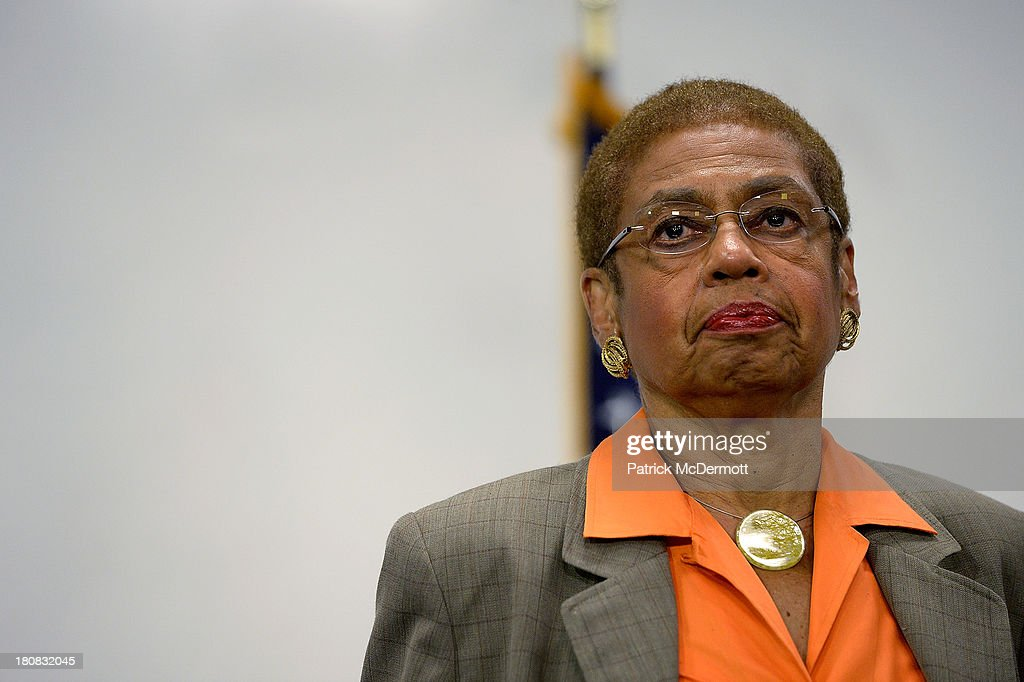 Delegate to the U.S. House of Representatives <a gi-track='captionPersonalityLinkClicked' href=/galleries/search?phrase=Eleanor+Holmes+Norton&family=editorial&specificpeople=642872 ng-click='$event.stopPropagation()'>Eleanor Holmes Norton</a> (D-DC) listens during an evening news briefing at a DC government building not far away from the Washington Navy Yard on September 16, 2013 in Washington, DC. At least 12 people were killed in a morning shooting rampage at the Navy Yard, according to published reports. The gunman was killed as well, according to the reports.