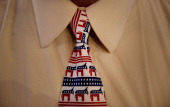 A delegate wears a tie branded with a donkey the symbol of the Democratic party during day two of the Democratic National Convention in Charlotte...