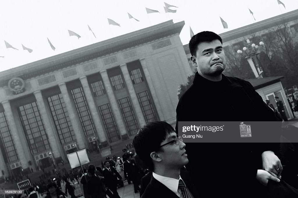 Delegate Yao Ming, a former NBA basketball star, leaves the Great Hall of the People after a plenary session of the Chinese People's Political Consultative Conference on March 7, 2013 in Beijing, China. Known as 'liang hui,' or 'two organizations', it consists of meetings between China's legislature, the National People's Congress (NPC), its advisory auxiliary and the Chinese People's Political Consultative Conference.