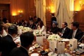 G20 delegates and guests attend a dinner at Downing Street on April 1 2009 in London England President Barack Obama and other delegates will be...