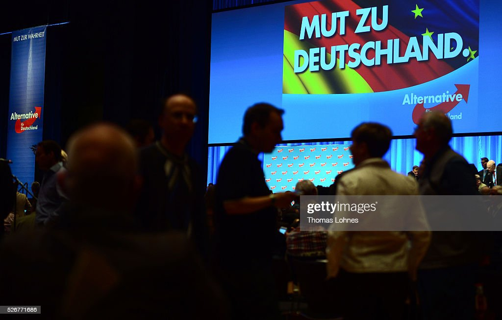 Delegates and the slogan 'Mut zu Deutschland' pictured at the party's federal congress on May 01, 2016 in Stuttgart, Germany. A server of the party had been hacked by a left political group and the addresses of AfD members has been published. The AfD, a relative newcomer to the German political landscape, has emerged from Euro-sceptic conservatism towards a more right-wing leaning appeal based in large part on opposition to Germany's generous refugees and migrants policy. Since winning seats in March elections in three German state parliaments the party has sharpened its tone, calling for a ban on minarets and claiming that Islam does not belong in Germany.