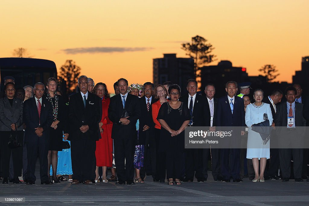 Delegates arrive at the War Museum on September 6, 2011 in Auckland, New Zealand. The annual gathering of leaders of the pacific nations has attracted heavyweight list of guests this year including United Nations Secretary General Ban Ki-moon, European Commission President Jose Manuel Barroso, the French Foreign Minister and the US Deputy Secretary of State. The forum conclusion coincides with the Opening Ceremony of the Rugby World Cup.