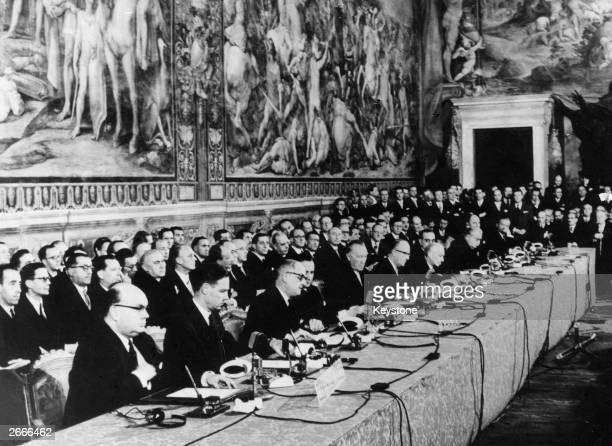 Delegates at the signing of the European Common Market Treaty in Rome