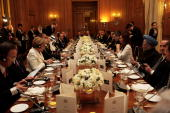 G20 delegates attend a dinner at Downing Street on April 1 2009 in London England President Barack Obama and other delegates will be attending a...