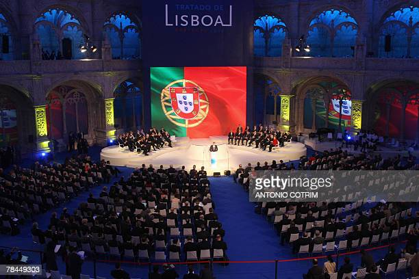 Delegates attend the ceremony of the signature of the 'Lisbon Treaty' at the Jeronimos Monastery in the Portuguese capital 13 December 2007 'History...