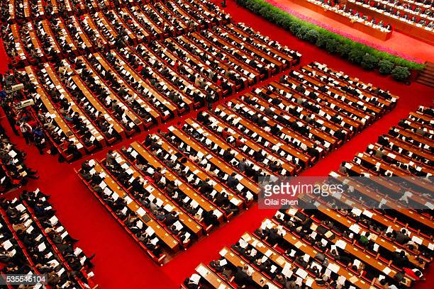 Delegates attend the opening ceremony of the Thirteenth Shanghai Municipal People's Congress in Shanghai China on Sunday 16 january 2011 Like the...