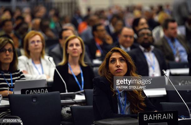 Delegates attend the opening ceremony of the United Nations Framework Convention on Climate Change in Bonn western Germany on June 1 2015 The...
