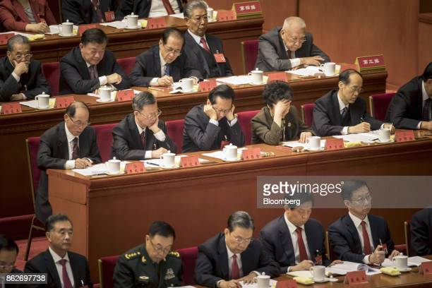 Delegates attend the opening of the 19th National Congress of the Communist Party of China at the Great Hall of the People in Beijing China on...
