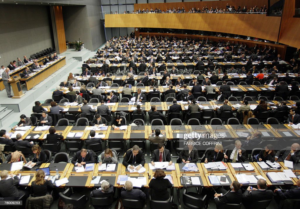 Delegates attend the opening session of a World Trade Organization Aid for Trade review summit 20 November 2007 at WTO headquarters in Geneva AFP...