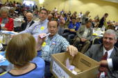Delegates cast their votes for republican Senate nominee at the state republican convention at the Marriott hotel in Albuquerque NM