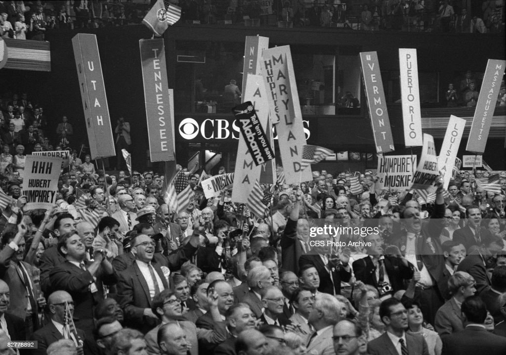 Delegates celebrate on the floor of the Democratic National Convention in the International Amphitheatre Chicago Illinois August 29 1968 The...
