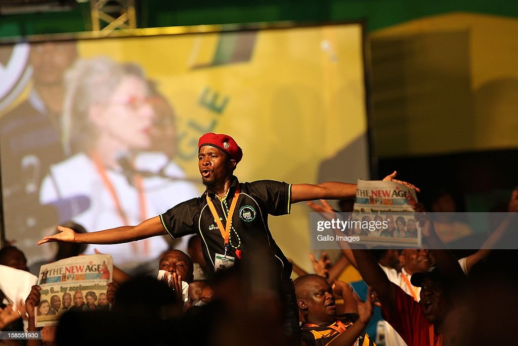 Delegates celebrate the re-election of Jacob Zuma as ANC president at the ANC's elective conference on December 18, 2012 in Mangaung, South Africa.