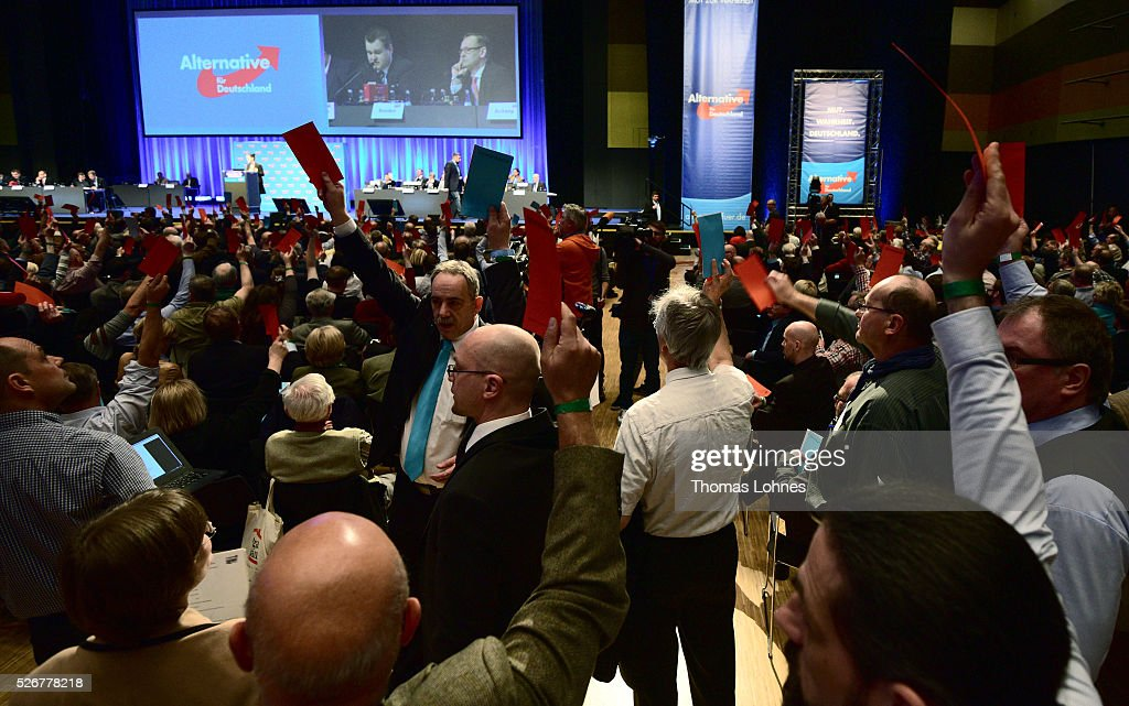 Delegates discuss and vote at the Alternative fuer Deutschland (AfD) political party's federal congress on May 01, 2016 in Stuttgart, Germany. A server of the party had been hacked by a left political group and the addresses of AfD members has been published. The AfD, a relative newcomer to the German political landscape, has emerged from Euro-sceptic conservatism towards a more right-wing leaning appeal based in large part on opposition to Germany's generous refugees and migrants policy. Since winning seats in March elections in three German state parliaments the party has sharpened its tone, calling for a ban on minarets and claiming that Islam does not belong in Germany.