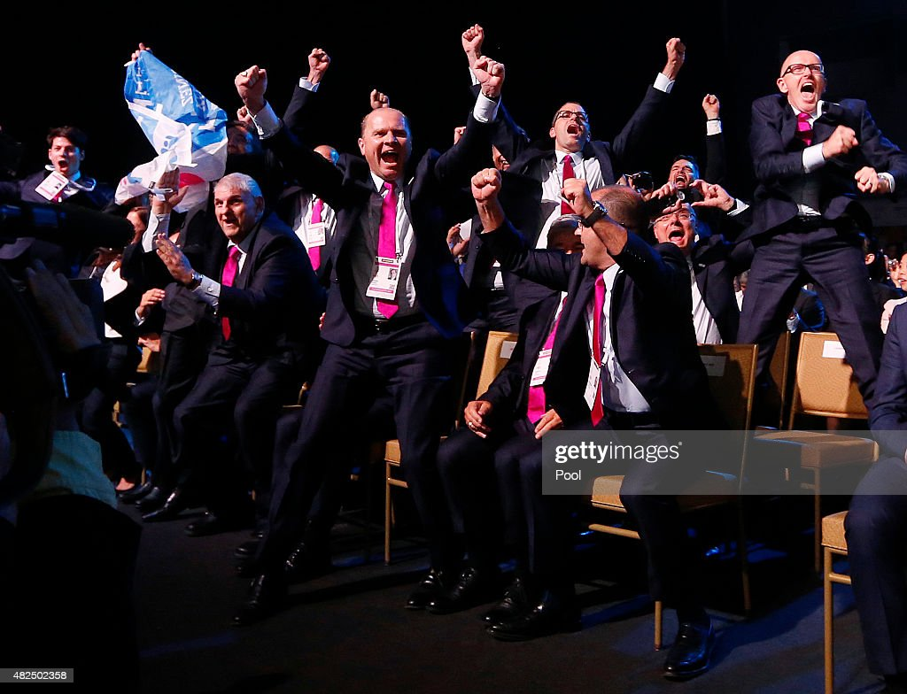 Delegates from Swiss city of Lausanne bid committee react after the announcement of the 2020 Youth Winter Olympics winning bid city during the 128th...