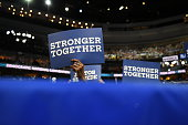 Delegates hold up signs as Massachusetts Senator Elizabeth Warren gives her speech on July 25 2016 at the Democratic National Convention in...