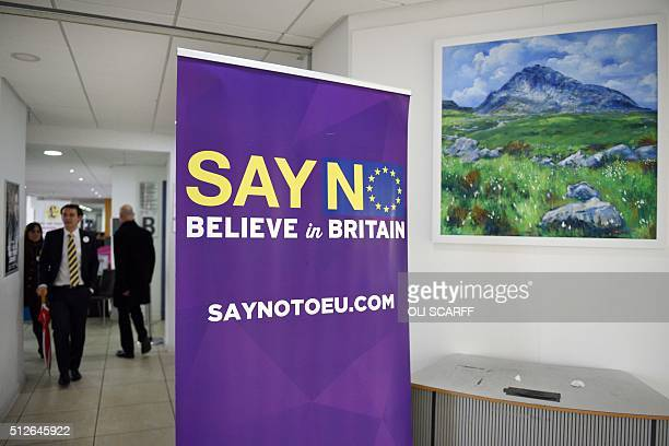 Delegates leave the United Kingdom Independence Party Spring Conference in Llandudno north Wales on February 27 2016 / AFP / OLI SCARFF