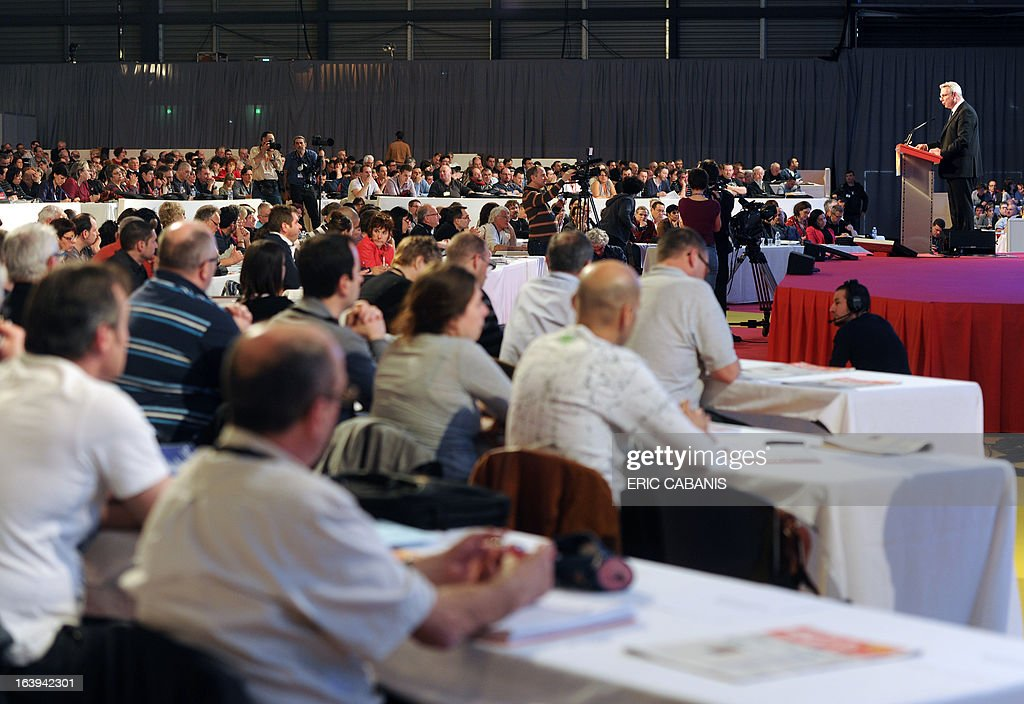 Delegates listen as French major union CGT's newly designated general secretary Thierry Lepaon (R) opens the CGT's 50th congress on March 18, 2013 at Toulouse's exhibition center.