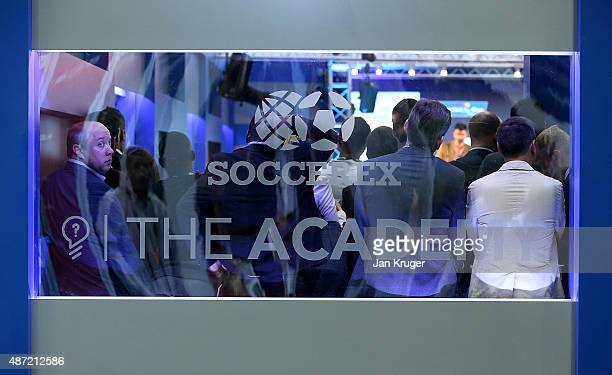 Delegates listen to presentations from a packed academy room during day three of the Soccerex Manchester Convention at Manchester Central on...