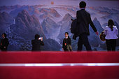 Delegates of judges arrive at the Great Hall of the People before the third plenary session of China's parliament the National People's Congress on...