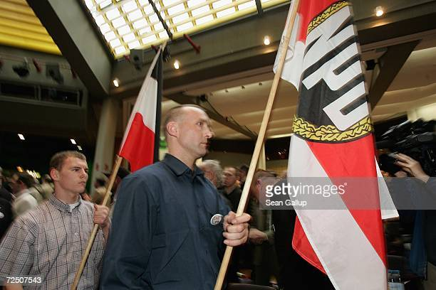 Delegates of the German farright NPD political party arrive for a national party congress November 11 2006 in Berlin Germany The NPD has gained seats...
